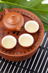 Chinese terracotta tea set with green tea