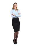 Full body of a young happy standing beautiful business woman