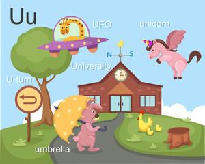 Alphabet.U letter.ufo,u-turn,u mbrella,university, unicorn.