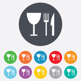 Eat sign icon. Knife, fork and wineglass.