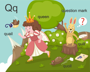 Alphabet.Q letter.quail,queen, quill,quoll,question mark.