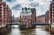Famous Speicherstadt warehouse district in Hamburg, Germany
