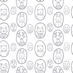 Animals portraits pattern : bear, deer, rabbit, fox