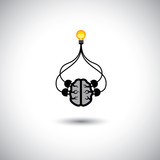 icon of bulb & brain connected - vector concept of idea creation