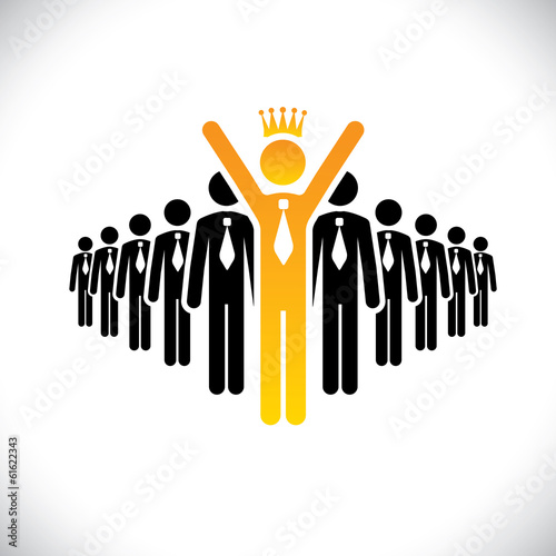 corporate employee beating competition - success vector concept