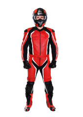 motorcyclist in red full length on white background
