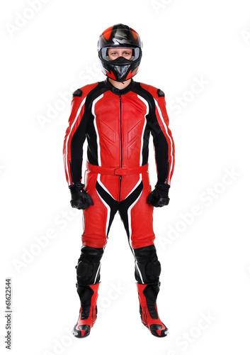 Fototapeta motorcyclist in red full length on white background