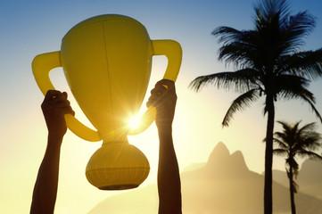 Hands Holding Trophy Rio de Janeiro Skyline