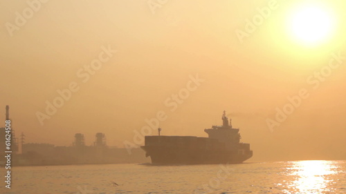 Ship in a fog on the chao phraya rivers, thailand