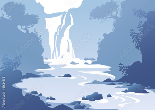 landscape with a waterfall - 61624558