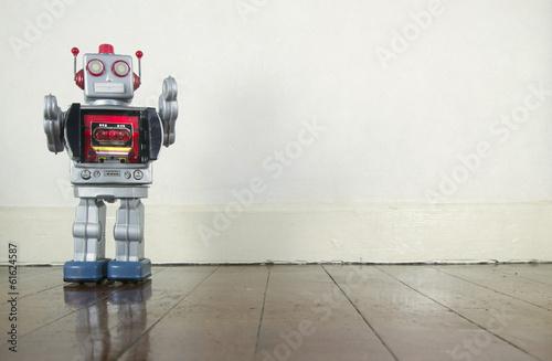 Leinwanddruck Bild old robot  toy
