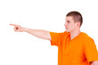 teen man pointing in side, white background