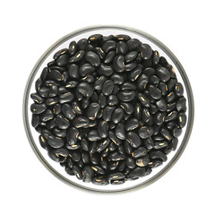 glass bowl full of black small beans on white background