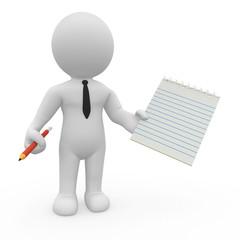 Eine 3d-Figur hält eine leere Liste in der Hand