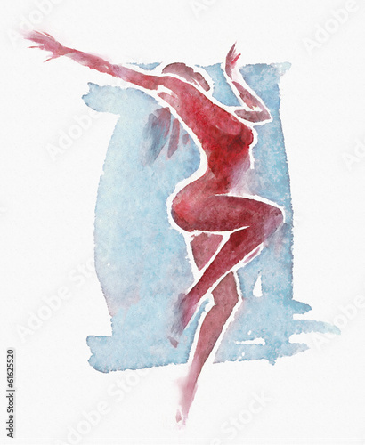 Naked Modern Dancer Watercolor Red-Blue
