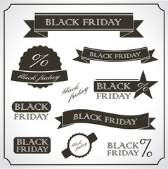 Black friday promotional vintage sticker / emblem set