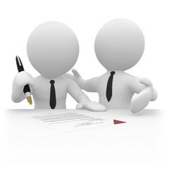 Zwei Geschäftspartner unterzeichnen einen Vertrag.