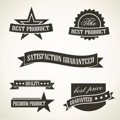 Simple vintage promotional emblems - vector icons