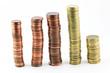 Pile di monete viste di fronte