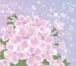Spring romantic background, vector illustration