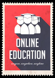 Online Education on Red in Flat Design.