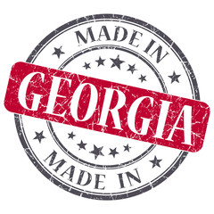 made in Georgia red round grunge isolated stamp