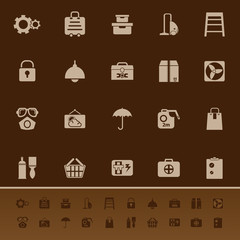Home storage color icons on brown background