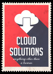 Cloud Solutions on Red in Flat Design.