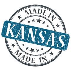 made in Kansas blue round grunge isolated stamp