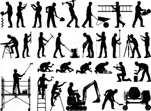Construction workers vector silhouettes - 61627561