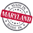made in Maryland red round grunge textured isolated rubber stamp