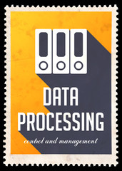 Data Processing on Yellow in Flat Design.