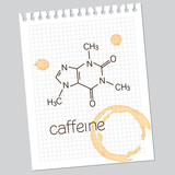 Caffeine molecule on squared notebook paper with coffee stains poster