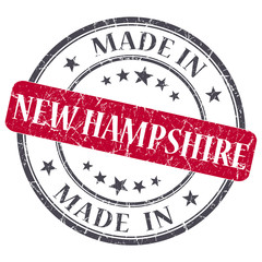 made in New Hampshire red round grunge isolated stamp