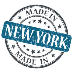 made in New York blue round grunge isolated stamp