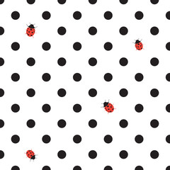 DOT BACKGROUND WITH LADYBUG