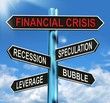 Financial Crisis Signpost Shows Recession Speculation Leverage A