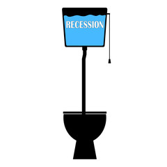 recession on toilet vector
