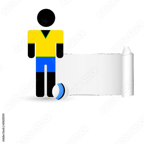 football player and tearing paper color vector