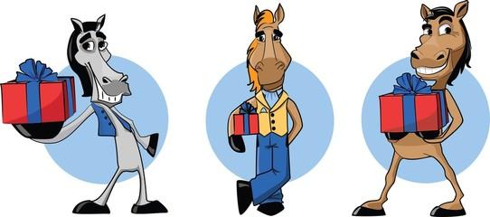 Забавный лошадь с настоящим, фон Рождество