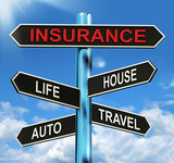 Insurance Signpost Means Life House Auto And Travel