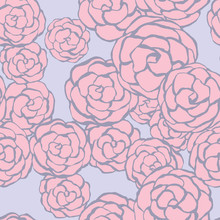 Seamless floral background with hand drawn gentle roses. Vector