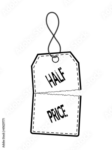 price tag in half on a white background