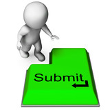Submit Key Shows Submitting Or Applying On Internet