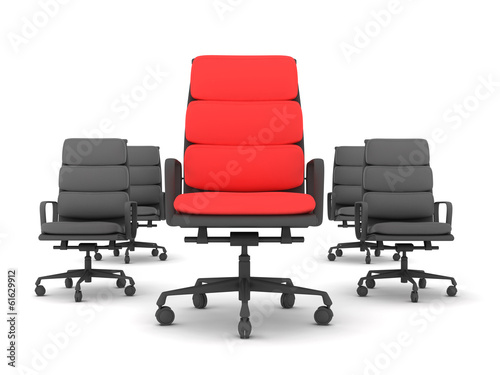 Leadership concept - one red and four black chairs