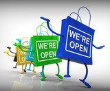 We're Open Bags Show Shopping Availability and Grand Opening