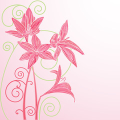 Romantic greeting card with flowers and curls. Vector