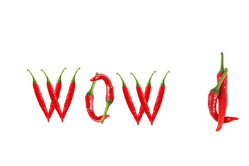 WOW text composed of chili peppers. Isolated on white background