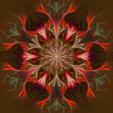 Beautiful fractal flower in claret and red. Computer generated g