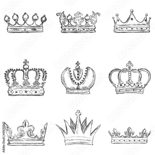 Vector Set of Sketch Royal Crown Icons